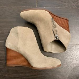 1. State Taupe Ankle Wedge Booties